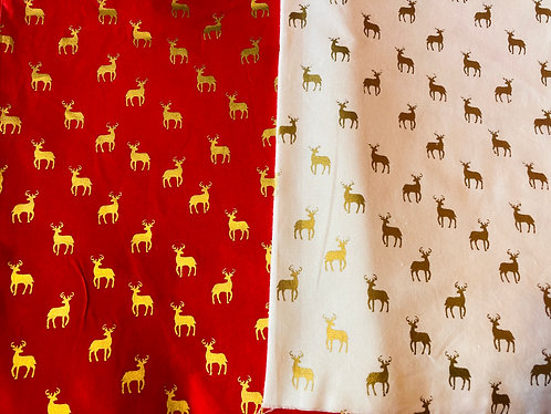 Christmas Metallic Reindeers Cotton Fabric