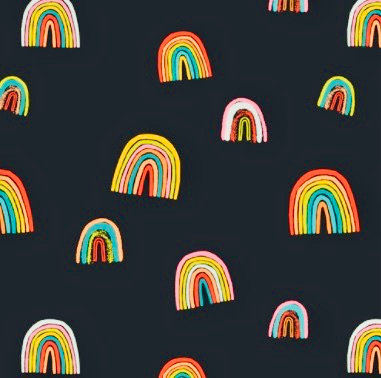 Rainbow cotton fabric, Fortunate Love from Art Gallery Fabrics