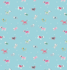 Riley Blake's moments dog fabric, in blue