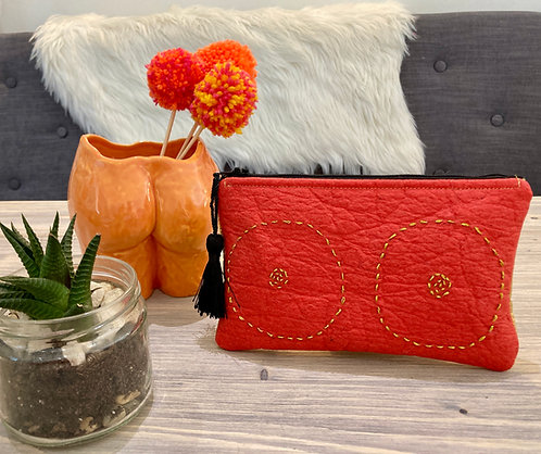 Leather alternative, hand embroidered coin pouch