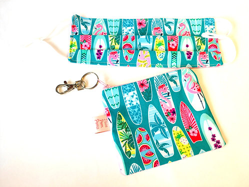 Adjustable handmade cotton reusable face mask with a matching bag on a keyring