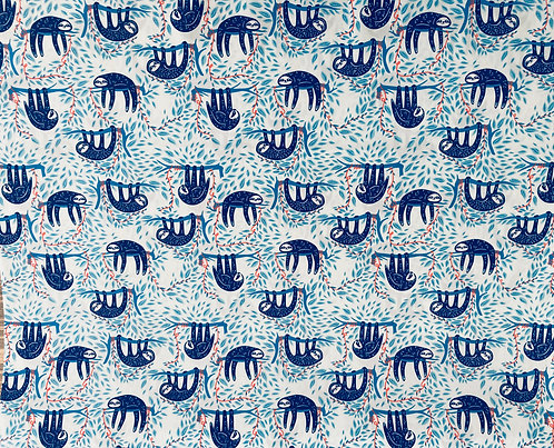 Sloth cotton fabric, Swaying Sloths Serene Cotton From Selva By Art Gall