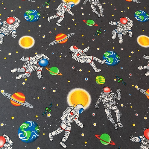 Spaceman cotton fabric on grey