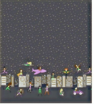 Michael Miller's 'Make a difference' double boundary superhero fabric