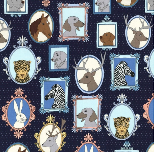 Michael Miller's 'Little Portraits' animal cotton fabric, in navy and gr