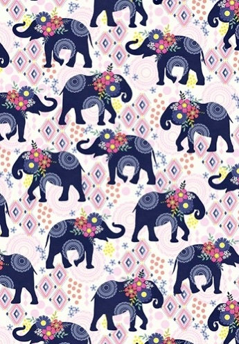 Michael Miller's Trunk Show elephant fabric in pink and blue, Fat Quarter