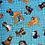 Thumbnail: 'Rescued and loved' dog fabric in turquoise from Henry Glass
