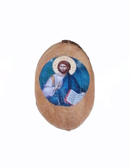 Icon on tree trunk with magnet