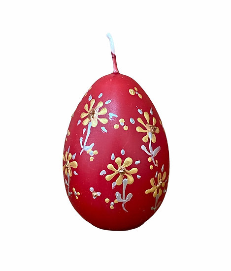 Handmade Red Easter Egg Candles - small