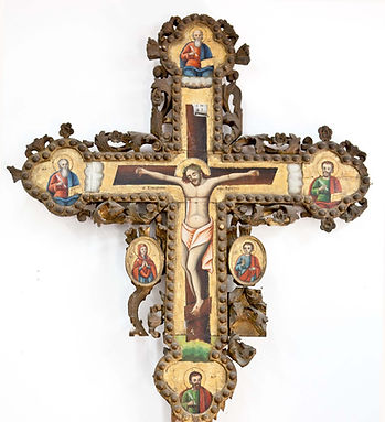 Hand carved wood cross, surviving from the old iconostasis (templon) of the Katholikon.
