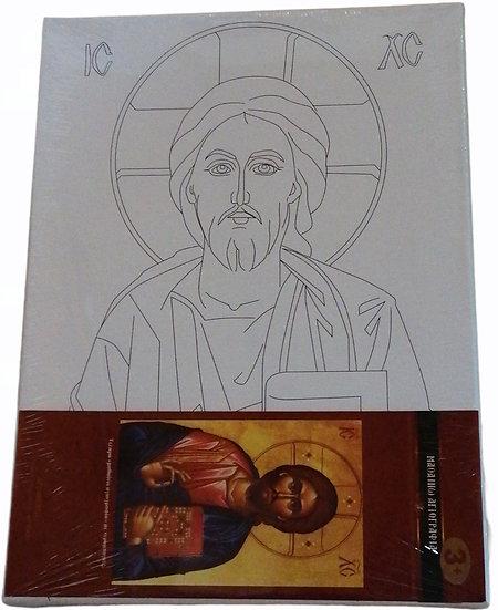 Μαθαίνω Αγιογραφία - Χριστός (Τελαρο με νερομπογιες)