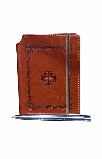 Leather notebook with pen