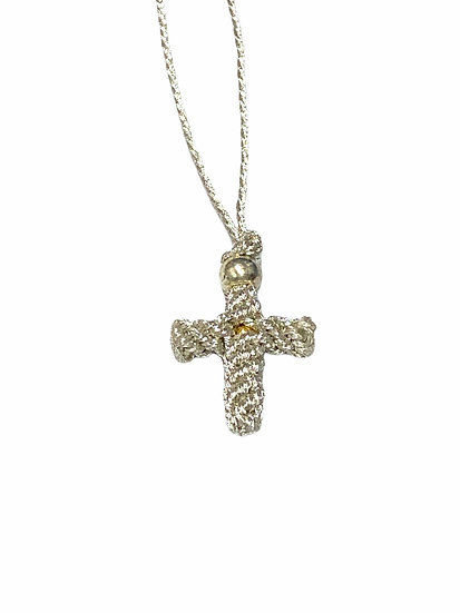 Knitted neck cross with silver thread