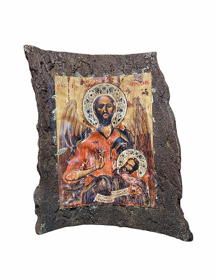 St John the Baptist icon on tree bark