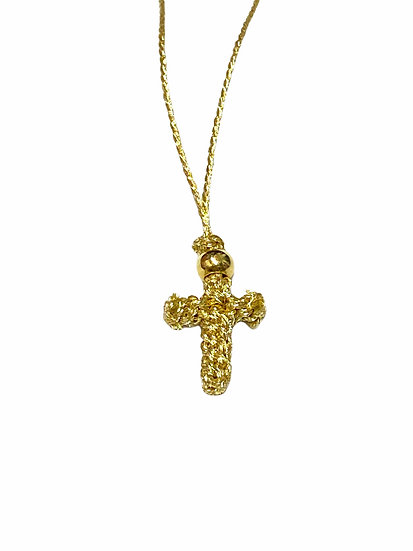 Knitted neck cross with gold thread