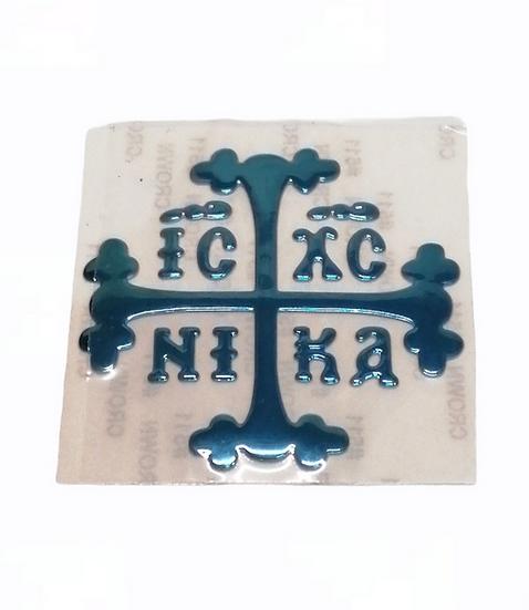 Cross enamel car sticker