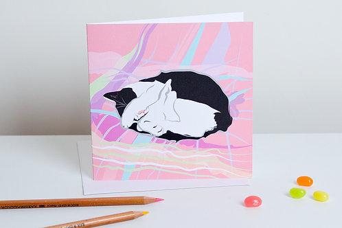 'Pixie' sleeping cat – Card