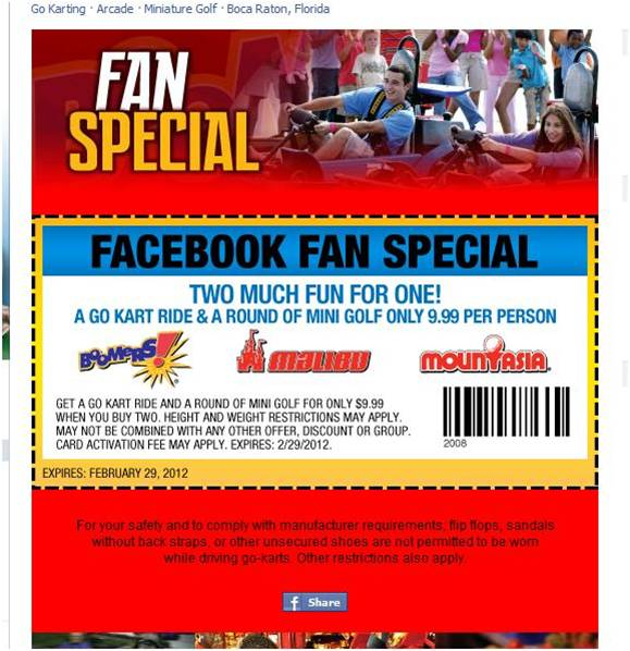 Facebook Fan Coupons
