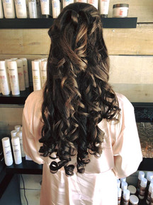 Half up style with curls