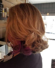 Peek A Boo Purple in Soft Blonde Curls