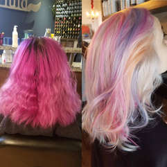 Before & After Fuschia to Palest Unicorm Hair