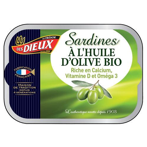Sardines huile d'olive BIO 115g - Le trésor DES DIEUX
