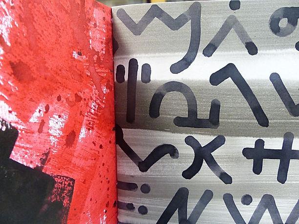 Anne Poupard, peinture, encres, papiers peints, collages, livres d'artistes, écritures primitives, calligraphie