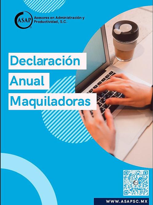 Declaración Anual Maquiladoras 2020