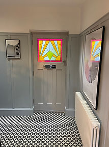 1930's stained glass wooden door