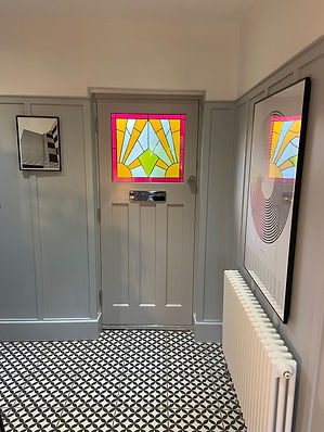 1930's door with stained glass and ultion smart lock