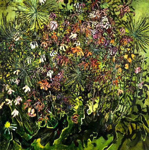 Zinnias and Allium, 2017