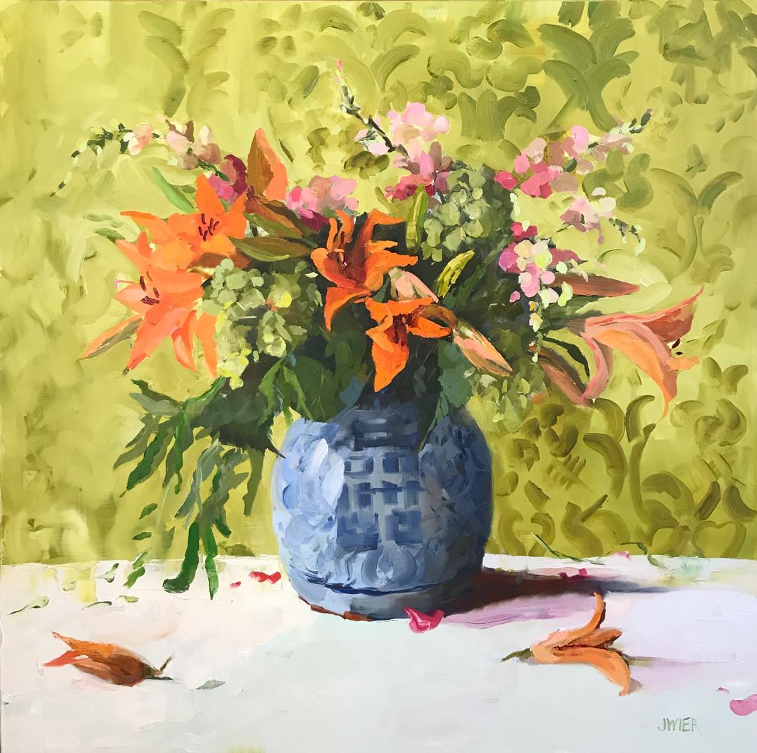 "Orange_Lilies_on_Green_Damask,_2017,_oil_on_canvas,_36""_x_36"".jpg"