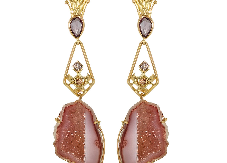 Pink Diamond & Geode Earrings