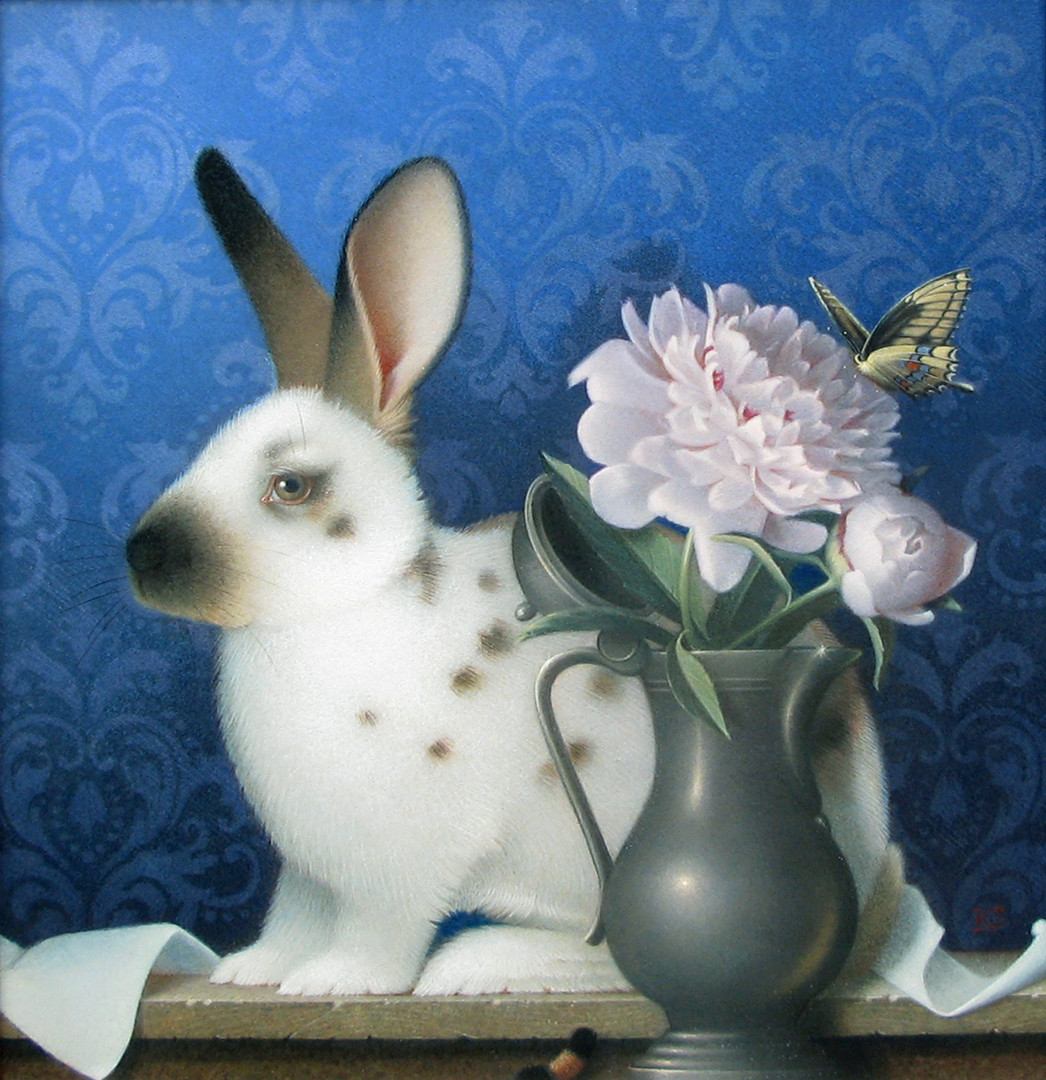 White, Brown Rabbit & Peonies, 2016