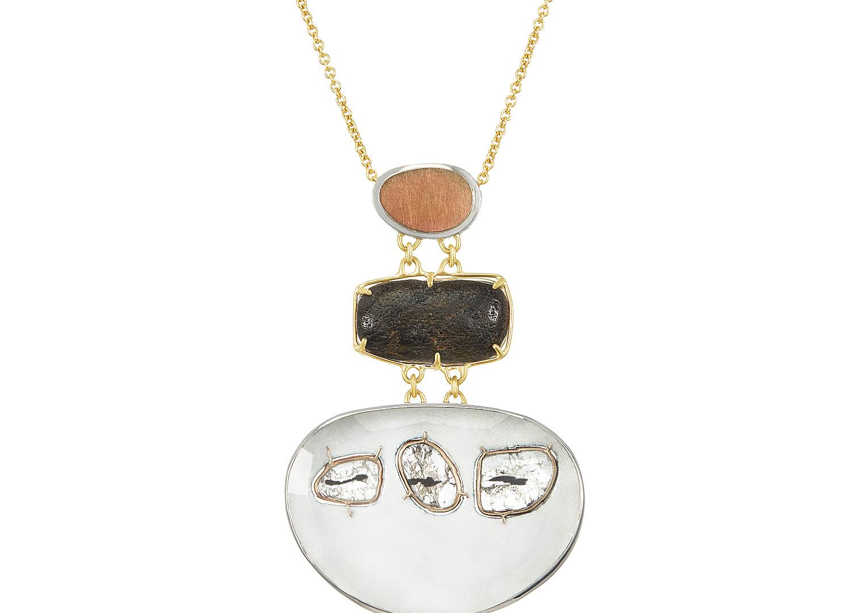 Triple Diamond and Enamel Cairns Pendant