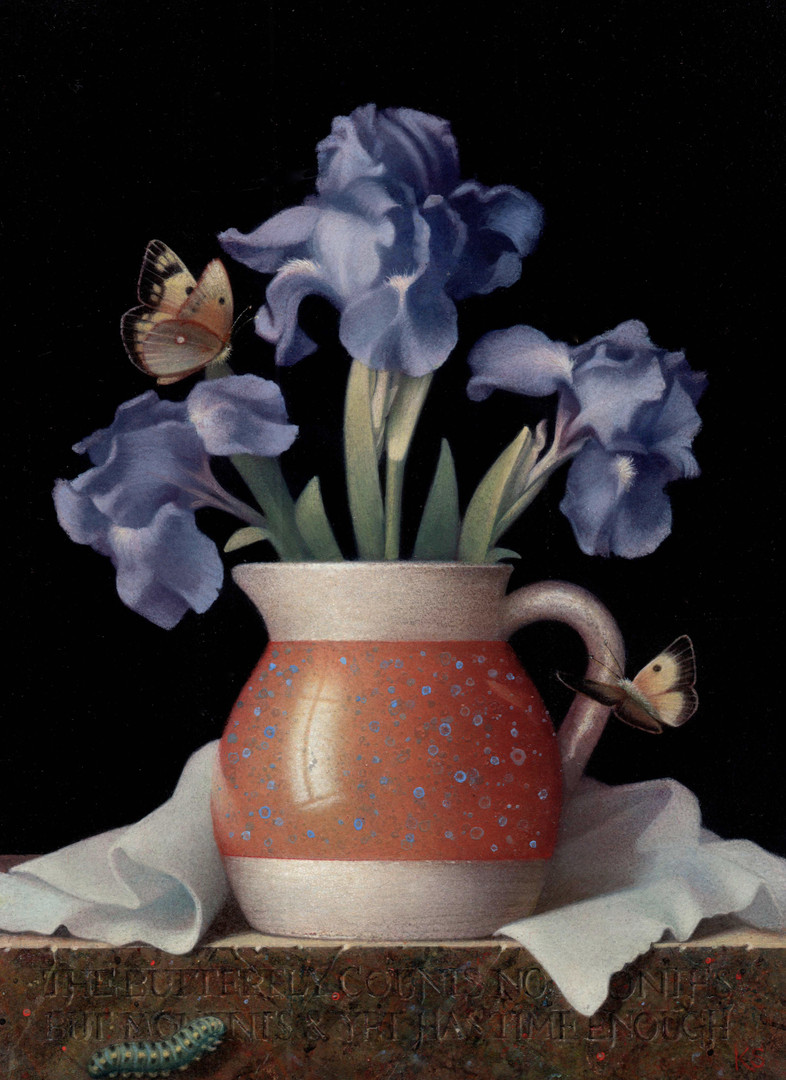 Blue Irises and Butterflies, 2018