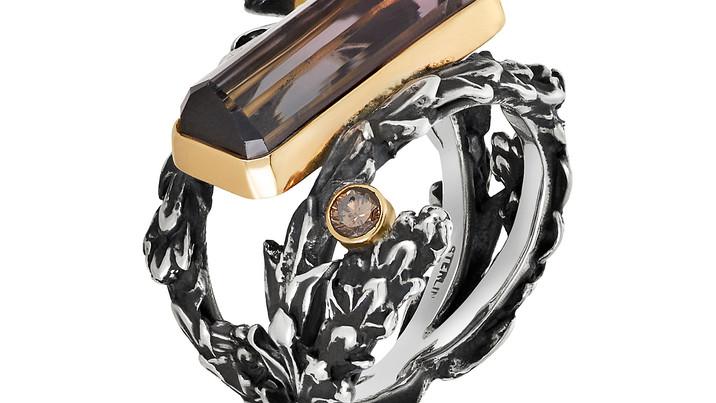 Deer Horn Cedar & Tourmaline Ring