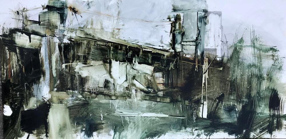 Bridged, 2018, oil on board, 12x24.JPG