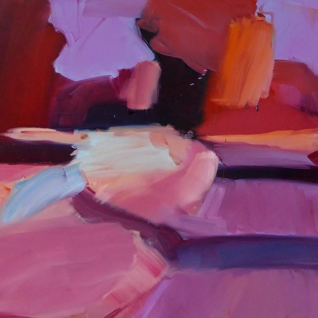 Red Ridge Road, oil on canvas, 90 x 100 cm