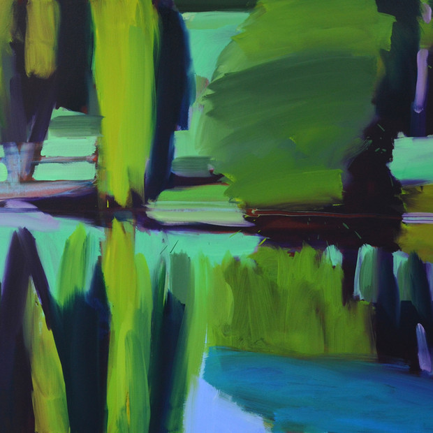 Glyndebourne lake willows, oil on canvas,100 x 140 cm