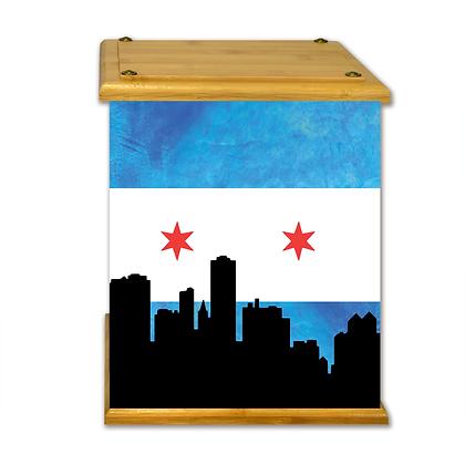 Chicago Skyline Art Canvas Urn