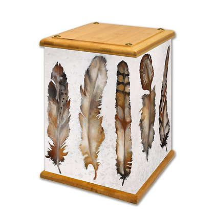Feathers Art Canvas Urn