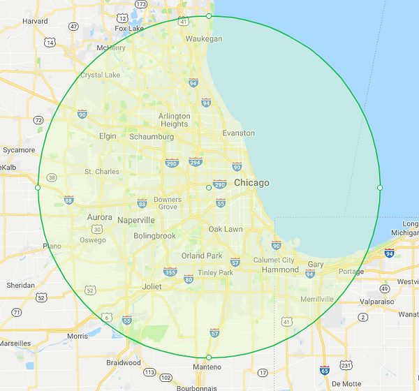 map showing our free-delivery area for hand-painted caskets in Chicagoland.