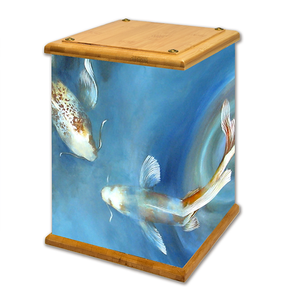 Blue Koi Art Canvas Urn