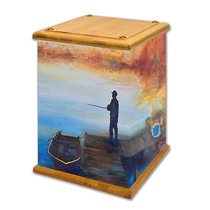 Fishing Art Canvas Urn