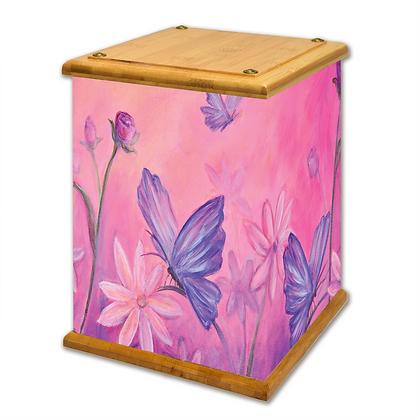 Butterflies and Flowers Art Canvas Urn