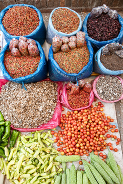 An Array of Colourful Vegetables In Luang Prabang Market, Laos