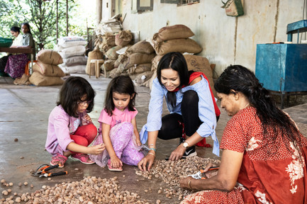At A Nutmeg Farm with The Girls, Kerala, Southern India