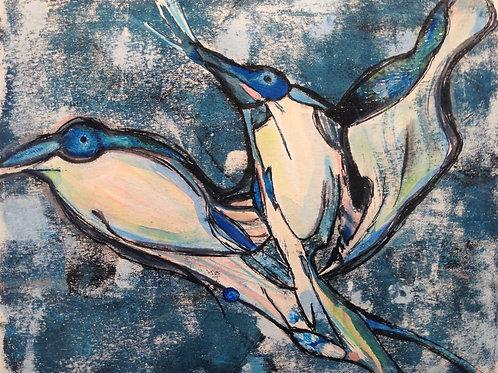 """""""Bird Conversation II"""" 20 x 30 cm - solgt"""
