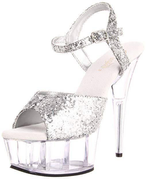 high heel shoe with silver sparkly straps and clear platform and heel